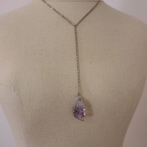 Handmade Two Layered Necklace Raw Amethyst